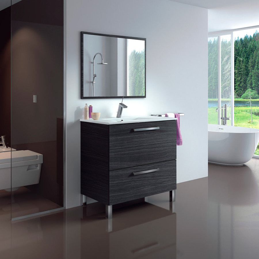 Mueble Baño Madera Gris:Mueble de Baño Urban 80cm Gris Ceniza – EMCCAT Mercade